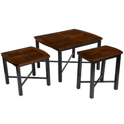 3 Piece Coffee Table Set in Bronze and Cherry