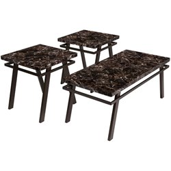 3 Piece Faux Marble Top Coffee Table Set in Brown