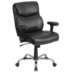 Big and Tall Leather Swivel Office Chair in Black