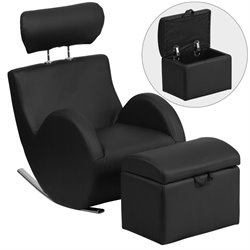 Faux Leather Rocking Chair and Ottoman in Black