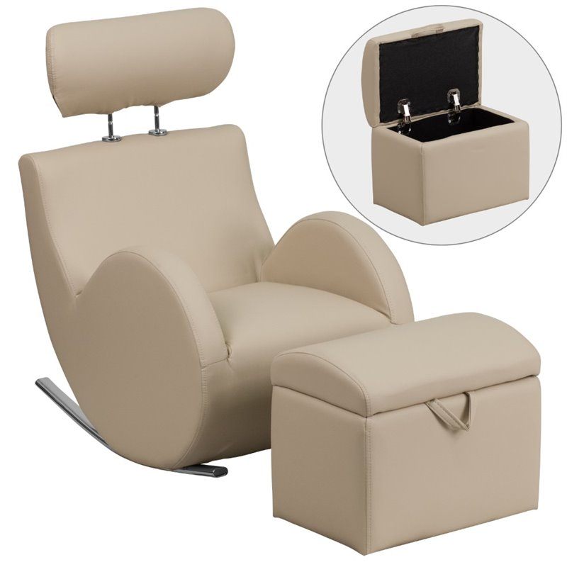 Flash Furniture Faux Leather Rocking Chair and Ottoman in Beige