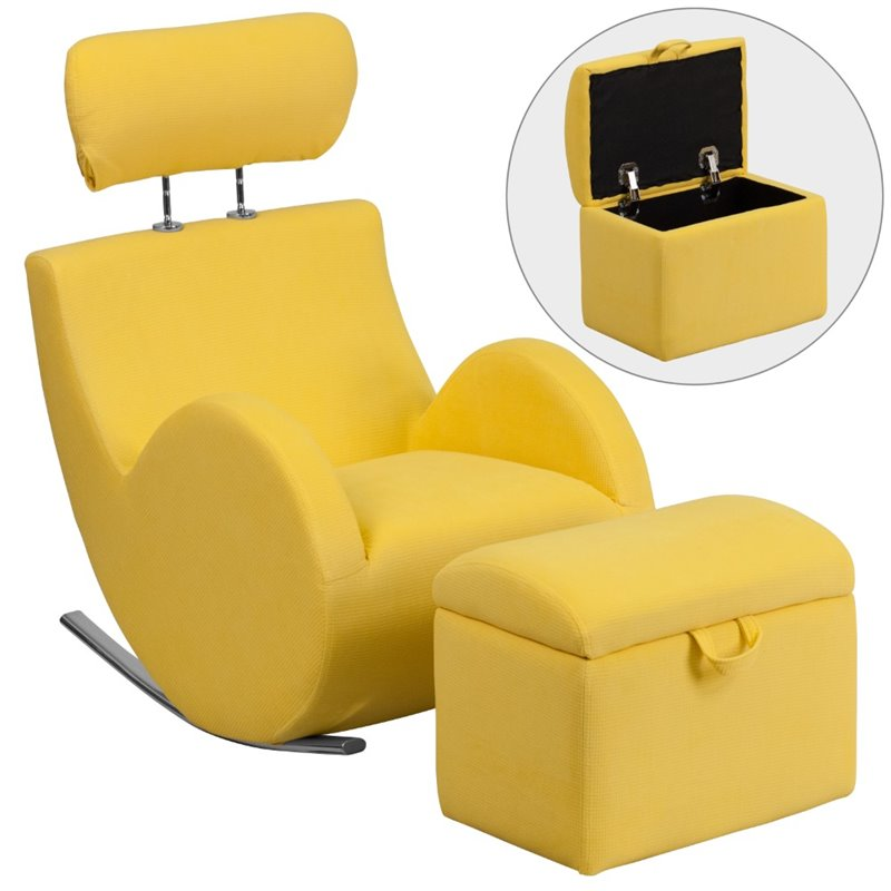 Flash Furniture Fabric Rocking Chair and Ottoman in Yellow