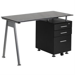 3 Drawer Glass Top Home Office Desk in Black