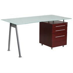 3 Drawer Glass Top Home Office Desk in Mahogany