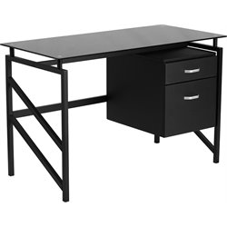 2 Drawer Glass Top Home Office Desk in Black