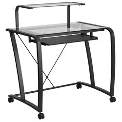 Flash Furniture Mobile Glass Top Computer Desk in Black