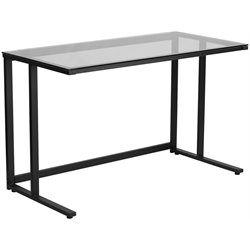 Glass Top Writing Desk in Black