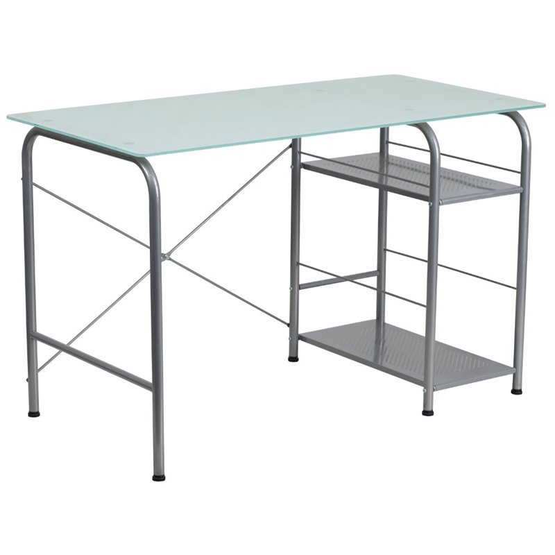 Glass Top Home Office Desk In Silver Nan Wk 086 Gg