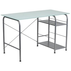 Glass Top Home Office Desk in Silver