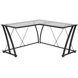 Flash Furniture Glass L-Shaped Computer Desk in Black