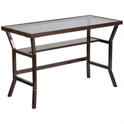 Glass Top Writing Desk in Brown and Gray