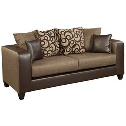 Flash Furniture Chenille Faux Leather Sofa in Brown