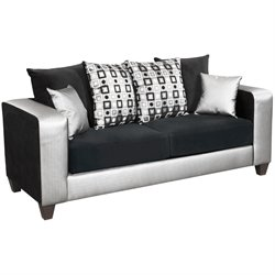 Flash Furniture Implosion Velvet Sofa in Black and Silver