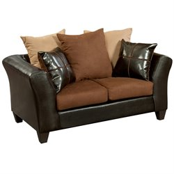Faux Leather Loveseat in Chocolate