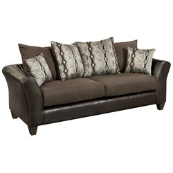 Flash Furniture Jefferson Faux Leather Sofa in Sable Brown