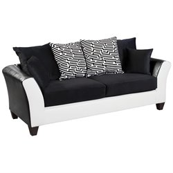 Flash Furniture Jefferson Faux Leather Sofa in Black and White
