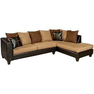 Faux Leather Right Facing Sectional in Chocolate