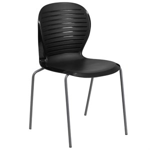 Plastic Stacking Chair in Black