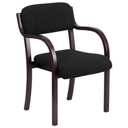 Fabric Reception Chair in Black and Mahogany