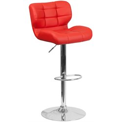 Flash Furniture Tufted Faux Leather Adjustable Bar Stool in Red