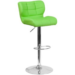 Tufted Faux Leather Adjustable Bar Stool in Green