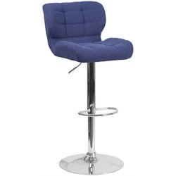 Tufted Fabric Adjustable Bar Stool in Blue
