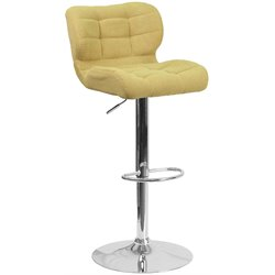 Tufted Fabric Adjustable Bar Stool in Citron Yellow