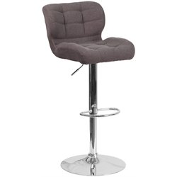 Tufted Fabric Adjustable Bar Stool in Dark Gray