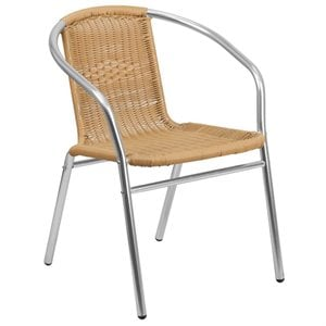 Aluminum and Rattan Stacking Patio Chair in Beige