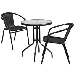 3 Piece Round Patio Bistro Set in Black