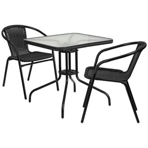 2 Piece Square Patio Dining Set in Black
