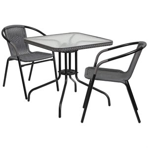 2 Piece Square Patio Dining Set in Black and Gray