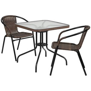 2 Piece Square Patio Dining Set in Black and Brown