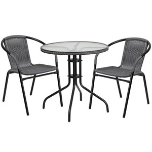 2 Piece Round Patio Dining Set in Black and Gray