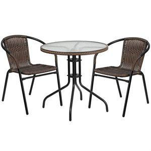 2 Piece Round Patio Dining Set in Black and Brown