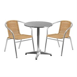 3 Piece Round Patio Bistro Set in Aluminum and Beige