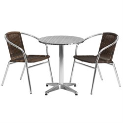 3 Piece Round Patio Bistro Set in Aluminum and Brown