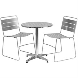 3 Piece Round Patio Bistro Set in Aluminum and Silver