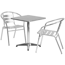 3 Piece Square Patio Bistro Set in Aluminum
