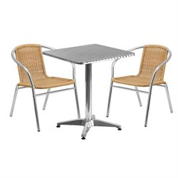3 Piece Square Patio Bistro Set in Aluminum and Beige