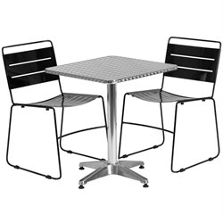3 Piece Square Patio Bistro Set in Aluminum and Black