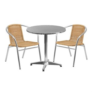 3 Piece Round Patio Dining Set in Aluminum and Beige