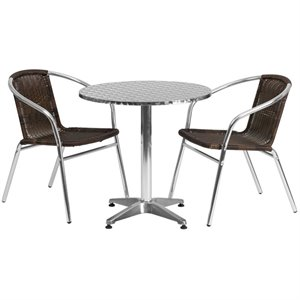 3 Piece Round Patio Dining Set in Aluminum and Brown