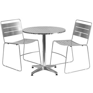 3 Piece Round Patio Dining Set in Aluminum and Silver