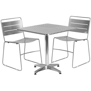 3 Piece Square Patio Dining Set in Aluminum and Silver