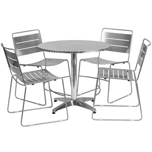 5 Piece Round Patio Dining Set in Aluminum and Silver