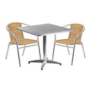 3 Piece Square Patio Dining Set in Aluminum and Beige