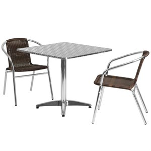 3 Piece Square Patio Dining Set in Aluminum and Brown