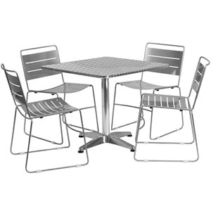 5 Piece Square Patio Dining Set in Aluminum and Silver