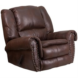 Fabric Rocker Recliner in Espresso
